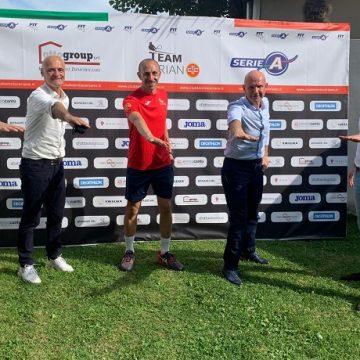Il presidente Severino Rocco (primo a sinistra) e il direttore tecnico del CTC Silverio Basilico (al centro) alla presentazione del campionato di Serie A2 2020 (foto GAME)